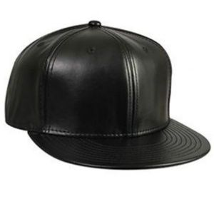 MEN'S New Era LEATHER BLANK Black Fitted Hat 7 5/8
